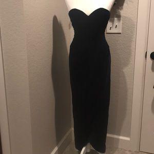 Victor Costa vintage navy blue velvet gown